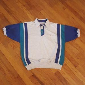 Retro Vintage Mid Century Polo Blue and White 60's